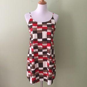 Alice + Olivia Brown & Red Checkered Silk Dress M